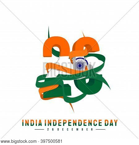 Typography Number Of 26 For India Independence Day With Ribbon When Celebrate On 26 December. Good T