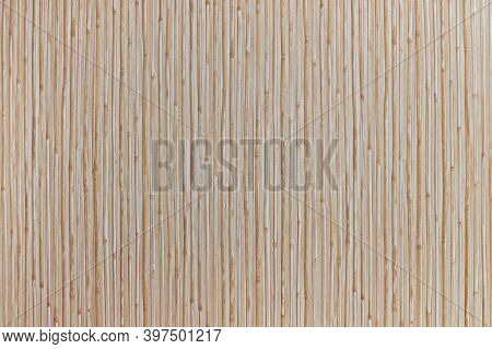 Wooden Wall Texture Background With Bamboo Pattern. Plastic Siding For Interiors