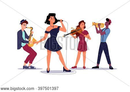Classic Music Band, Woman Singer Soloist, Saxophone And Trumpet Players, Isolated Musical Group. Vec