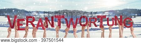 People Hands Holding Word Verantwortung Means Responsibility, Winter Background