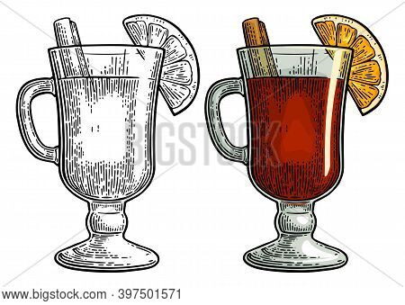 Female Hand Holding Glass Of Mulled Wine With Cinnamon Stick, Orange Slice. Vintage Color And Black