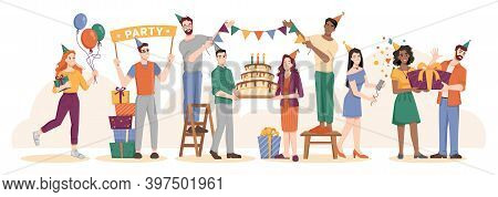 Celebration Of Birthday, Party With Symbolic Cake With Lit Candles, Banners With Flags And Inflatabl