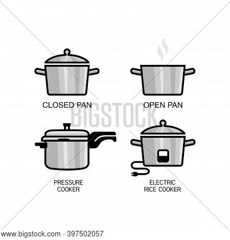 Different Types Of Rice Cooking Instructions. Closed Pan, Open Pan, Pressure Cooker And Electric Ric
