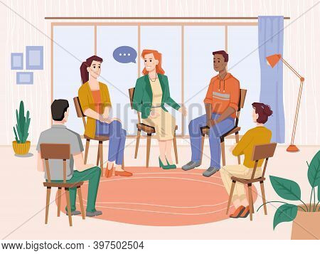 Group Therapy Indoors, People Sitting On Chairs In Circles, Meeting Session With Psychologist. Vecto