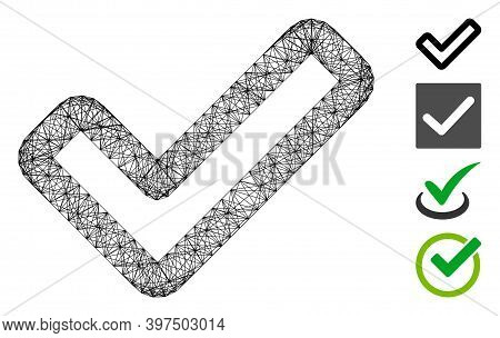 Vector Wire Frame Apply. Geometric Wire Frame 2d Network Made From Apply Icon, Designed From Interse