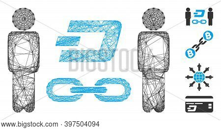 Vector Wire Frame People Dash Blockchain. Geometric Linear Frame 2d Network Generated With People Da