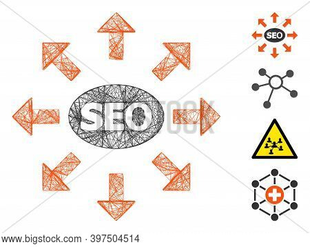 Vector Net Seo Spam. Geometric Linear Frame Flat Net Generated With Seo Spam Icon, Designed With Cro