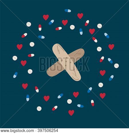 Illustration Of A Medical Patch. Cartoon Medical Items In A Circle Of Hearts And Pills. Drawn In The