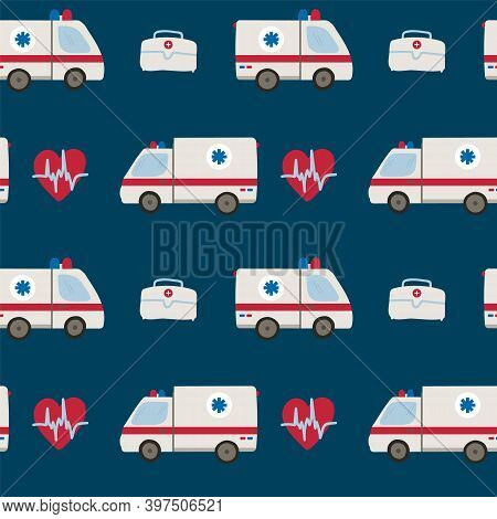 Background With An Ambulance. Cute Items For Childrens Emergency Services And Rescuers. Drawn In Fla
