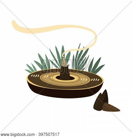 Flat Vector Illustration Of Combustible Incense In The Form Of A Cone That Lets Out Fragrant Smoke O