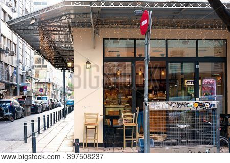 THESSALONIKI, GREECE - November 30, 2019: Restaurants in Thessaloniki city, Greece