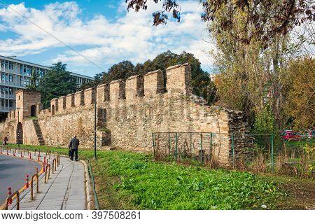 THESSALONIKI, GREECE - November 30, 2019: Antique building view in Thessaloniki city, Greece