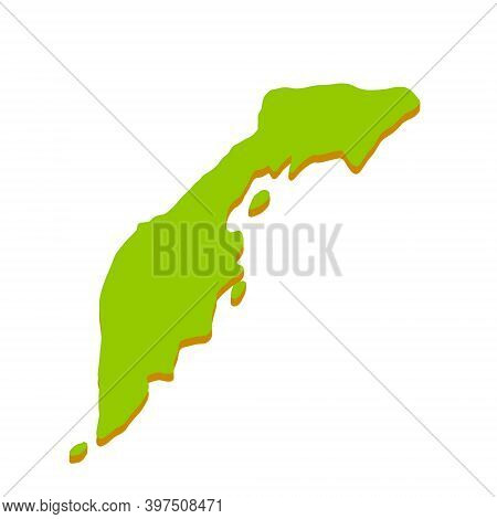 Kamchatka Peninsula. Asian Part Of Russia. Geographical Map And Sea. Pacific Ocean. Flat Illustratio
