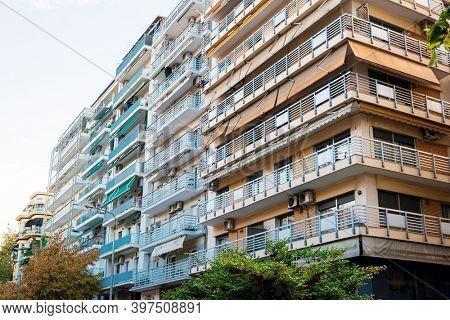 THESSALONIKI, GREECE - November 30, 2019: Typical architecture in Thessaloniki city, Greece