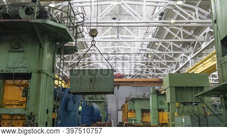 Overhead Crane Or Bridge Crane Include Hoist Lifting For Transportation, Manufacturing, And Producti