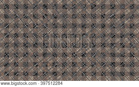 Brown Black Beige Vintage Checkered Background With Blur, Gradient And Grunge Texture. Classic Check