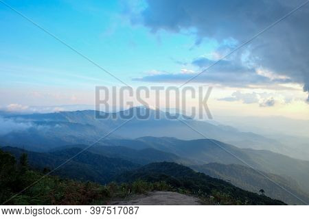 In Selective Focus A Beautiful Panorama View Of Doi Inthanon Peak With Mountains Line And Blue Sky