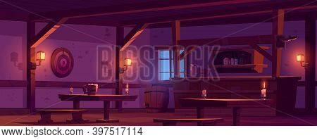 Old Tavern, Vintage Pub With Wooden Bar Counter, Shelf With Bottles, Glow Lanterns And Beer Mug On T