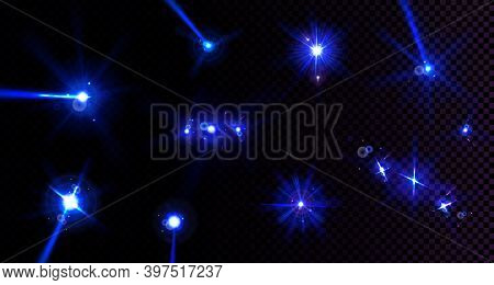 Lens Flares, Light Flashes With Blue Beams Isolated On Transparent Background. Vector Realistic Set