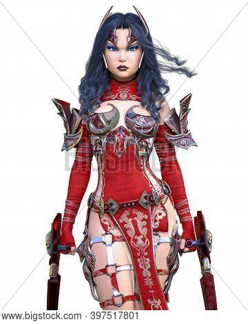 Warrior Amazon Woman Metal Blade.long Dark Hair.elven Warrior.comic Hero.muscular Athletic Body.girl