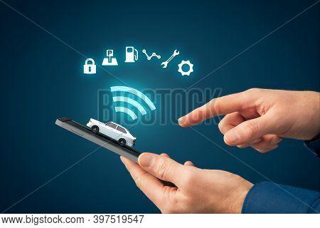 Intelligent Car App On Smart Phone Concept, Intelligent Vehicle And Smart Cars Concept. Person With