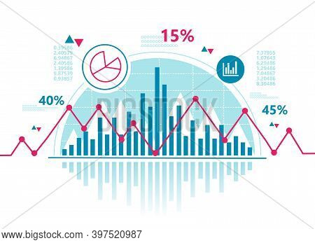 Stock Chart And Business Statistic Of Stock Market Trading With Red Graph. Financial Investment And