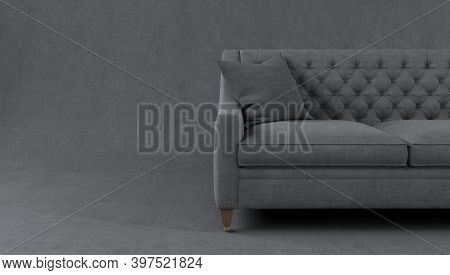 Modern Scandinavian Classic Gray Sofa With Legs And Pillows On Gray Background. Furniture, Interior