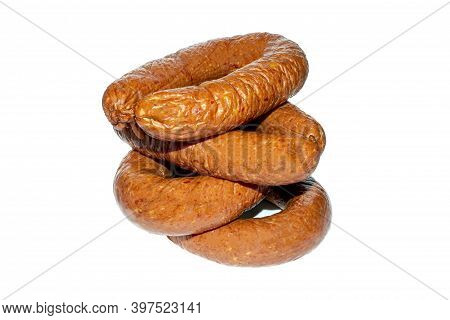 Boiled And Smoked Sausage On A White Background.farm Smoked Sausage.stick Of Homemade Smoked Sausage