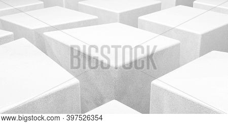 Abstact White Modern Architecture Background With White Concrete Cubes Geometric Shapes 3d Render Il
