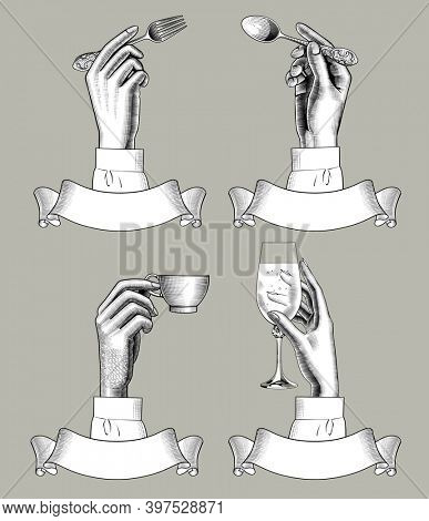 Hands holding spoon, fork, coffee cup and vine glass over retro ribbon banners. Vintage engraving stylized drawing.