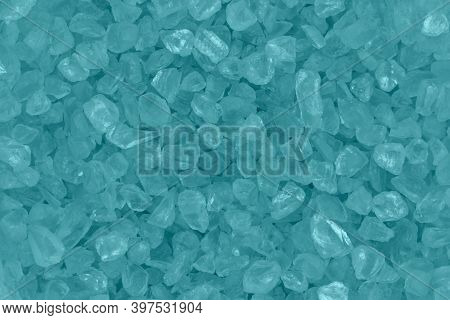 Teal Textured Beach Glass Closeup Background With Copy Space For Beach Or Holiday Message Or Use As