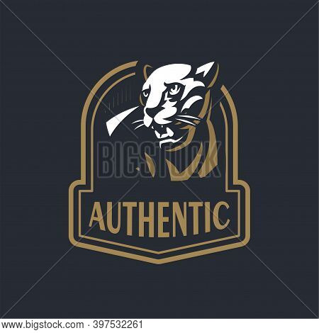 The Angry Panther Bared Her Teeth. The Head Of A Panther Or Wild Cat. Stylized Vector Illustration.
