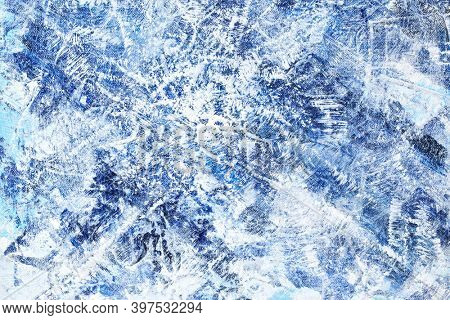 Blue winter abstract background. Hand drawn hoar-frost texture