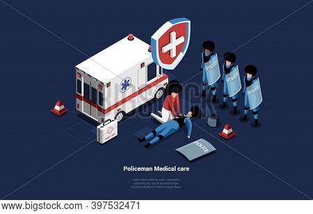 Policeman Medical Care Conceptual Vector Illustration. Medical Worker Healing Lying Hurt Man, Other