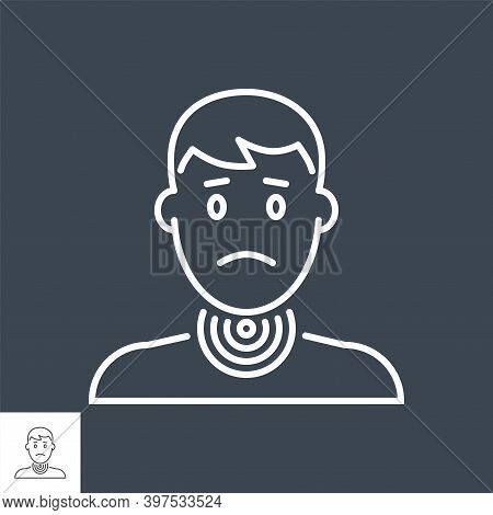 Sore Throat Related Vector Thin Line Icon. Head Of A Man With A Sore Throat. Isolated On Black Backg