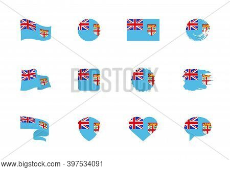 Fiji Flag - Flat Collection. Flags Of Different Shaped Twelve Flat Icons.