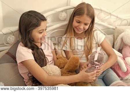 True Friendship. Small Friends Play Toys In Childrens Room. Enjoying Bonds Of Friendship. Friendship