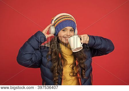 Take A Sip. Happy Child Enjoy Drinking Tea Or Coffee. Little Girl Hold Drinking Mug. Healthy Drinkin
