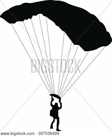Vector Illustration Of Silhouettes Skydiver, Parachute Jumper