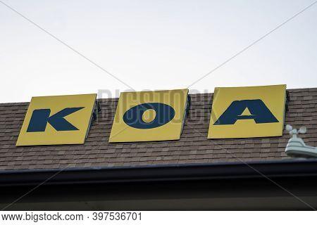 Estes Park, Colorado - September 20, 2020: Sign For The Koa Campground - (kampgrounds Of America)