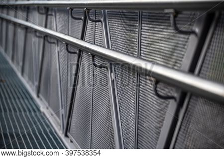 Perspectives Of Modern Metal Railings. Galvanized Fence With Railings. Selective Focus.
