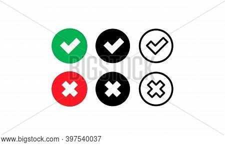 Check And Cross Mark Icon. Approve Or Deny Concept. For Apps And Websites. Vector Eps 10. Isolated O