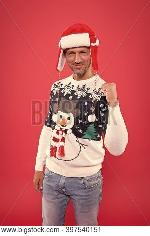 Join Feast. Christmas Concept. Happy Guy In Sweater Celebrate Winter. Winter Sale. Diving Into Chris