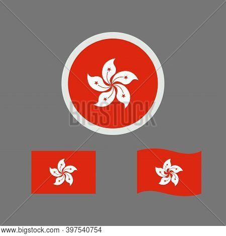 Vector Illustration Of Hong Kong Flag Sign Symbol. Hong Kong Flag Vector. Hong Kong National Flag.