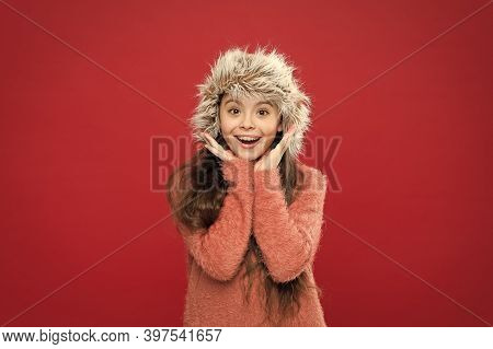 Soft Furry Accessory. Winter Season. Shopping Concept. Keep Head In Warmth. Feeling Warm. Child Long