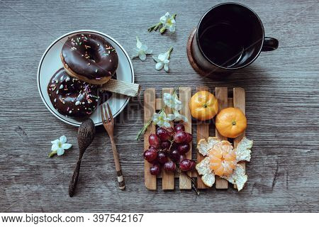 Rustic Breakfast, Breakfast And Coffee Are Placed On The Wooden Table, Top View.