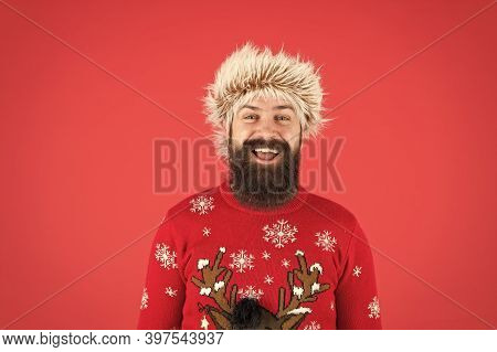 Man With Long Beard And Mustache. Winter Care. Emotional Guy. Winter Mood. Bearded Hipster Wear Knit