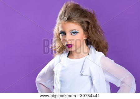 Children fashion makeup fashiondoll kid girl on purple