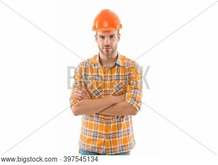 Keep Head Safe In Helmet. Improvement And Renovation. Man Builder Or Inspector. Engineer Architect B
