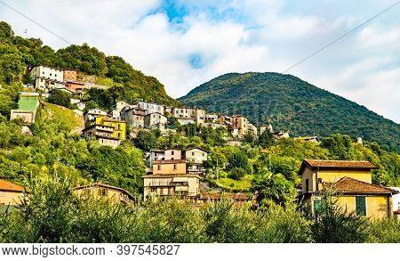 Houses In Marone At Lake Iseo In Lombardy, Nothern Italy